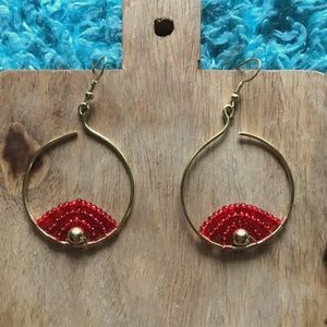 Gold Beaded Hoop with Ruby Red Glass Bead Detail